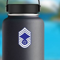 Air Force Rank E-9 Chief Master Sergeant  Sticker on a Water Bottle example