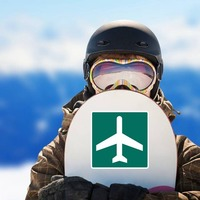 Airport Sticker on a Snowboard example