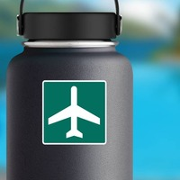 Airport Sticker on a Water Bottle example