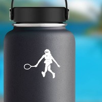 Amazing Girl Tennis Player Sticker on a Water Bottle example