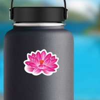 Amazing Pink Lotus Flower Sticker on a Water Bottle example
