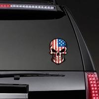American Flag Skull Sticker on a Rear Car Window example