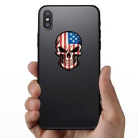 American Flag Skull Sticker on a Phone example