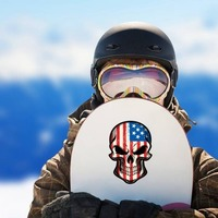 American Flag Skull Sticker on a Snowboard example
