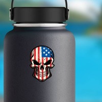American Flag Skull Sticker on a Water Bottle example