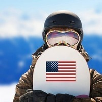 American Flag Sticker on a Snowboard example