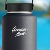 American Made Vinyl Lettering Sticker on a Water Bottle example