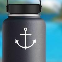 Anchor With Long Wide Hooks Sticker on a Water Bottle example