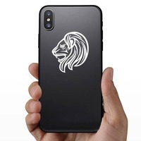 Angry Detailed Lion Head Sticker on a Phone example