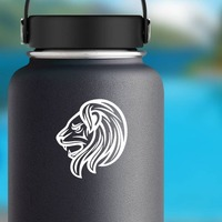 Angry Detailed Lion Head Sticker on a Water Bottle example