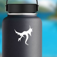 Angry Flying Dragon Sticker on a Water Bottle example
