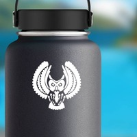Angry Owl Sticker on a Water Bottle example