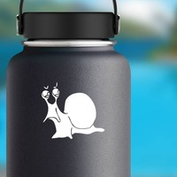 Angry Snail Sticker on a Water Bottle example