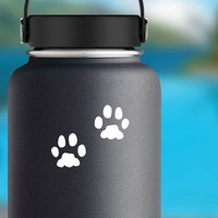 Animal Paw Prints Sticker on a Water Bottle example