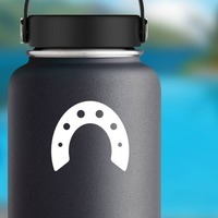 Arched Horseshoe Sticker on a Water Bottle example
