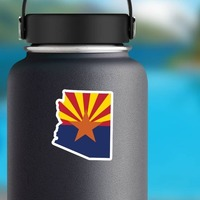 Arizona Flag State Sticker on a Water Bottle example