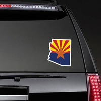 Arizona Flag State Sticker on a Rear Car Window example