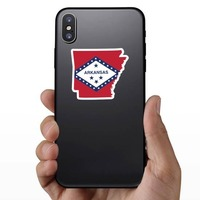 Arkansas Flag State Sticker on a Phone example