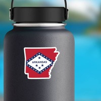 Arkansas Flag State Sticker on a Water Bottle example