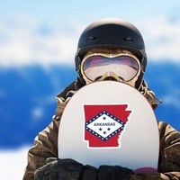 Arkansas Flag State Sticker on a Snowboard example
