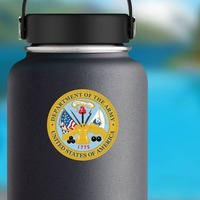 Army Seal Department Of The Army Sticker on a Water Bottle example