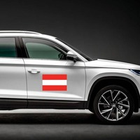 Austria Country Flag Magnet on a Car Side example