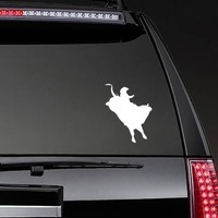 Awesome Cowboy Rodeo Bull Rider Sticker on a Rear Car Window example