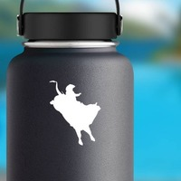 Awesome Cowboy Rodeo Bull Rider Sticker on a Water Bottle example