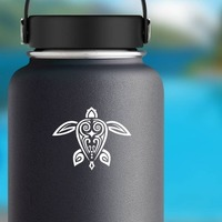 Awesome Hawaiian Tribal Turtle With Dots Sticker on a Water Bottle example