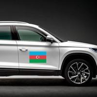 Azerbaijan Flag Magnet on a Car Side example