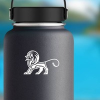Aztec Lion Sticker on a Water Bottle example