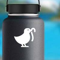 Baby Chick Chicken Eating Worm Sticker on a Water Bottle example