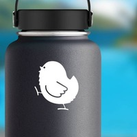 Baby Chick Chicken Walking Sticker on a Water Bottle example