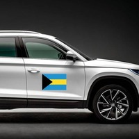 Bahamas Flag Magnet on a Car Side example