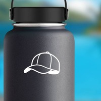 Baseball Hat or Softball Cap Sticker on a Water Bottle example