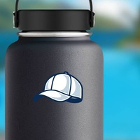 Baseball Hat or Softball Cap with Shading Sticker on a Water Bottle example