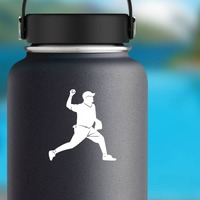 Baseball Pitcher Pitching Sticker on a Water Bottle example