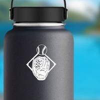 Baseball Softball Diamond Glove And Ball Sticker on a Water Bottle example