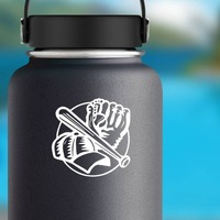 Baseball Softball Glove Ball Hat And Bat Sticker on a Water Bottle example