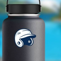 Baseball or Softball Helmet with Shading Sticker on a Water Bottle example