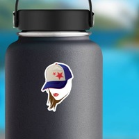 Baseball or Softball Star Hat with Lipstick Sticker on a Water Bottle example