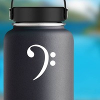 Bass Clef Music Sticker on a Water Bottle example