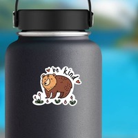 Be Kind Camping Sticker on a Water Bottle example