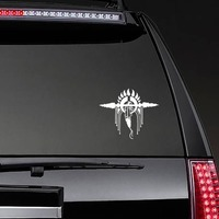 Bear Paw Print, Spear And Feather Sticker on a Rear Car Window example