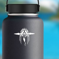 Bear Paw Print, Spear And Feather Sticker on a Water Bottle example