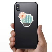 Beautiful Painted Blue Cactus with Flower Sticker on a Phone example