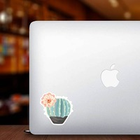 Beautiful Painted Blue Cactus with Flower Sticker on a Laptop example