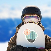 Beautiful Painted Blue Cactus with Flower Sticker on a Snowboard example