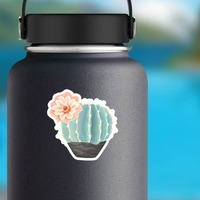 Beautiful Painted Blue Cactus with Flower Sticker on a Water Bottle example