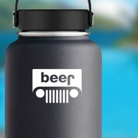 Beer Jeep Sticker on a Water Bottle example